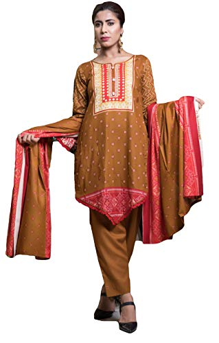 - IshDeena Pakistani Dresses for Women Ready to Wear Salwar Kameez Ladies Suit - 3 Piece (Extra Large, Bronze - Printed)