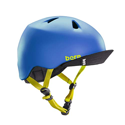 Kids Helmet Visor - BERN - Kid's Nino Helmet, Matte Blue w/Flip Visor, XS/S