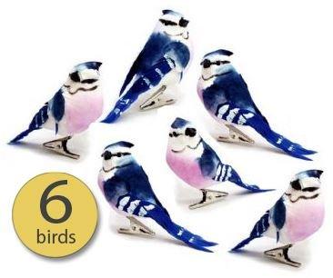 Set of 6 Artificial Birds, Craft Birds, Fake Birds - 3