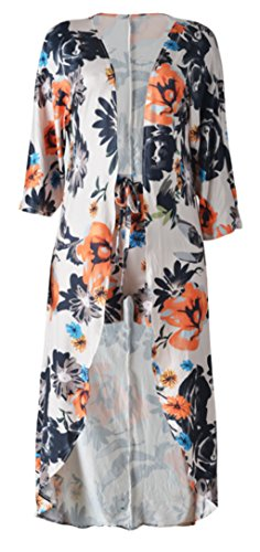 4ab58f8718817 Women's Summer Floral Print 2 Piece Set Cardigan Cover-Up+Shorts ...