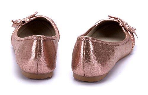 Schuhtempel24 Damen Schuhe Klassische Ballerinas Flach Zierschleife/Blumenapplikation Bronze