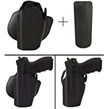 Safariland Rogers Holster RUGER 9E SR-40 SR-45 SR-9 Pro-Fit 578-283-412 7TS GLS Compact Frame Multi-Fit Paddle & Belt Left Hand, Black + Ultimate Arms Gear 9mm/.40/.45 Mag Pouch