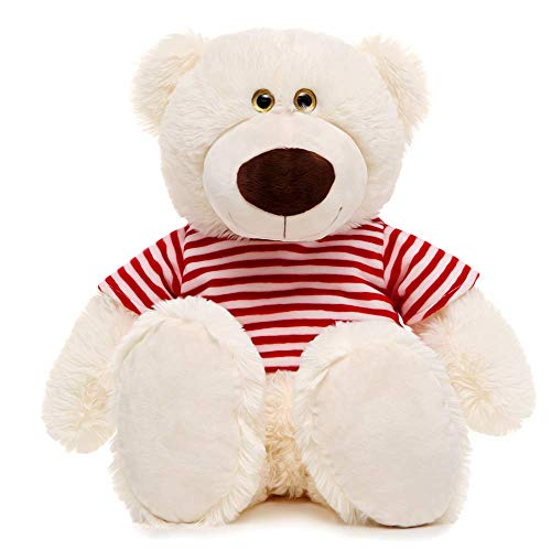 - Toys Studio 24 inch White Teddy Bear Cute Stuffed Animals with Striped T-Shirt Plush Toy for Girlfriend Kids
