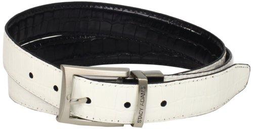 Croco Embossed Belt (Stacy Adams Men's 30mm Croco Embossed Genuine Leather With Twist Reversible Belt, Black/White,)