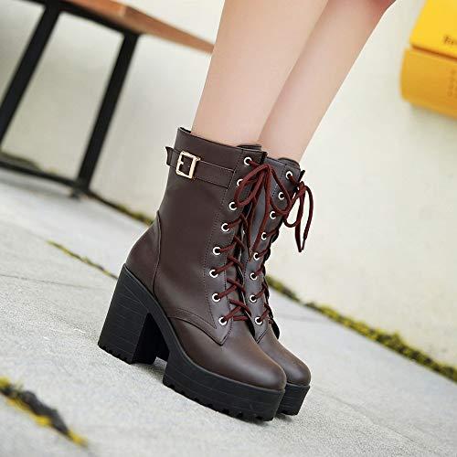 Et Weant Pour À Marron Chaussures Lacets Talons Femmes Bottes Boots Bottines Hauts Épais Bottillons Femme Moto nROPrZR