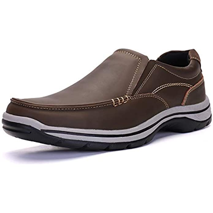 ALITIKAVIC Mens Slip On Casual Loafers Leather Lightweight Comfort Walking Shoes