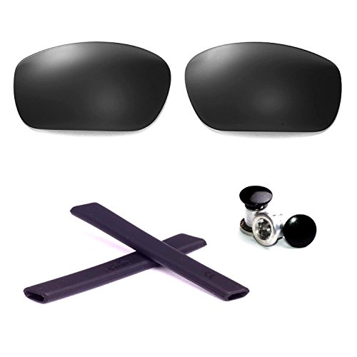 Walleva Polarized Lenses + Rubber + Bolt For Oakley Jawbone - Multiple Options Available (Black Lenses + Black Rubber + Black Bolt)