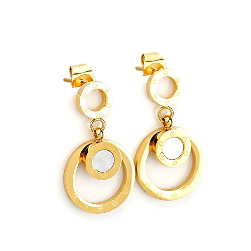Stylish Gold Tone Circular Post Earrings with Contemporary Screw Design and Faux Mother-Of-Pearl Inlay (160017) - Contemporary Screws