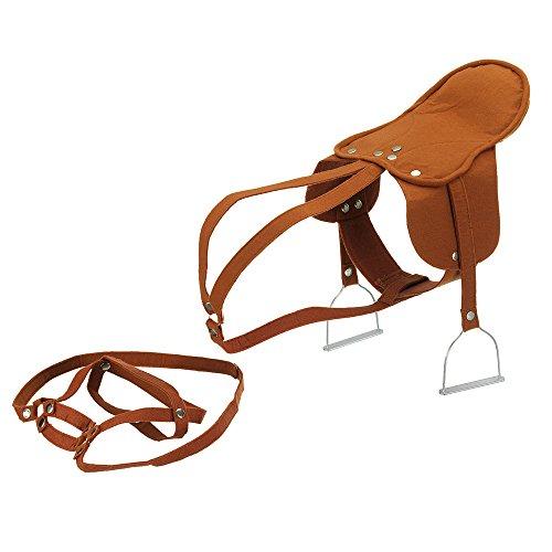 Sattel Steigbügel Zaumzeug für Schaukelpferde und Pferde von Heunec etc.: Plüschpferd Reitpferd Braun