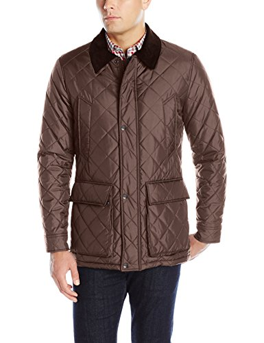 (Cole Haan Men's Quilted Nylon Barn Jacket with Corduroy Details, Wren, Small)