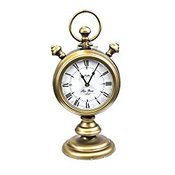 Sagebrook Home 11562 Metal, Two Sided Table Clock Metal, 8 x 6.5 x 17 Inches