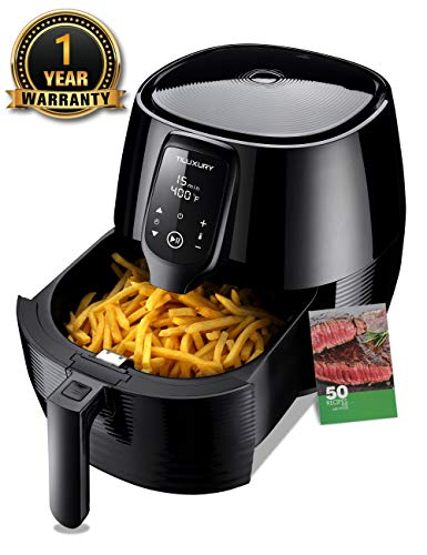 Air Fryer XL, 5.8QT Electric Large Deep Fryer Oil-free Touchscreen Healthy Cooker With Detachable Basket Dishwasher Safe Auto Shut Off, Include 50 Recipes Book, BBQ Rack and Skewers, Pizza Pan, Black