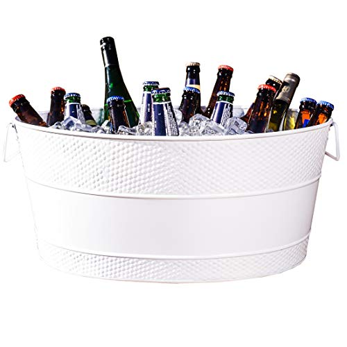 BREKX White Aspen Hammered Galvanized Beverage Tub for Weddings/Anniversary/Housewarming/ETC Gifts - 25 Quart