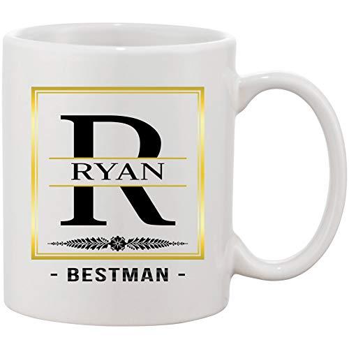 Coffee Mug Monogram Initial Cup Mug With Name and Letter (R) Ryan Bestman - Funny Mug 11oz Gift For Men, Boyfriend, Husband And Dad