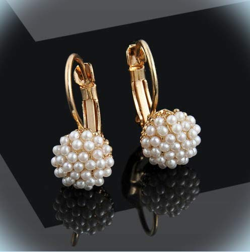 (Pretty New Yellow Gold Plated Seed Pearl Cluster Leverback Dangle Drop Earrings For Women Lady)