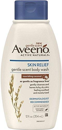 AVEENO Active Naturals Skin Relief Gentle Scent Body Wash, Nourishing Coconut 12 oz 4 Pack