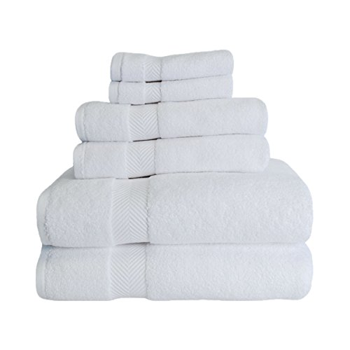 Superior Zero Twist 100% Cotton Bathroom Towels, Super Soft, Fluffy, and Absorbent, Premium Quality 6 Piece Towel Set with 2 Washcloths, 2 Hand Towels, and 2 Bath Towels - White