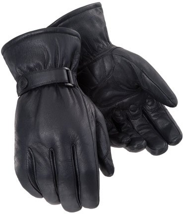 idweight Mens Leather Cruiser Motorcycle Gloves - Black / Small (Men Small Cruiser)