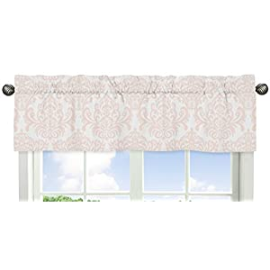 Sweet Jojo Designs Blush Pink and White Damask Window Valance for Amelia Collection