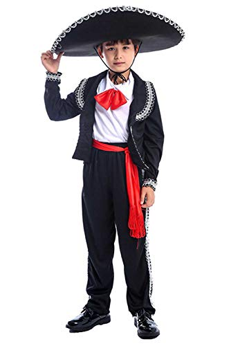 Halloween Kids Boys Mexican Mariachi Amigo Costume Theme Party Cosplay Outfit Uniform 3-14 Years (M/8-10years, Black)]()