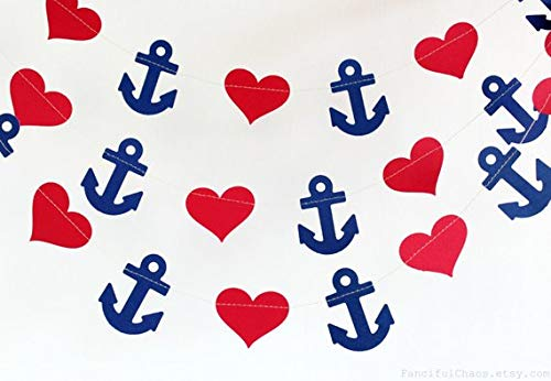 Navy Blue Anchor Red Heart 10ft Party Paper Garland, Birthday Party Decor, Wedding Shower Decor, Nursery Décor