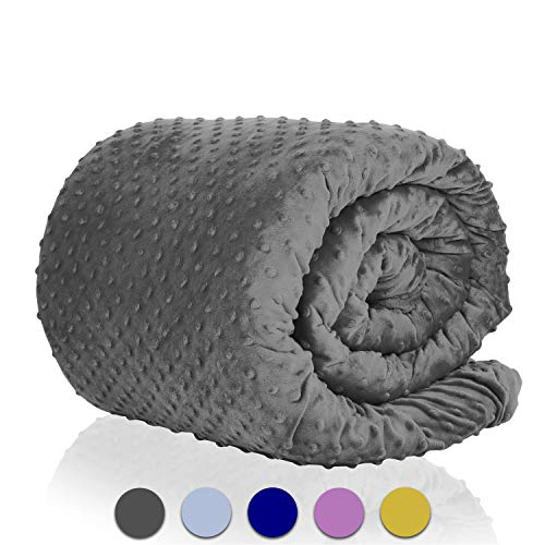 - GnO Minky Weighted Blanket Cover for Full Size Duvet - Soft and Breathable Comforter Covers - Easy Machine Washing and Care - Made from Premium Minky Fleece Fabric - Dark Gray 48