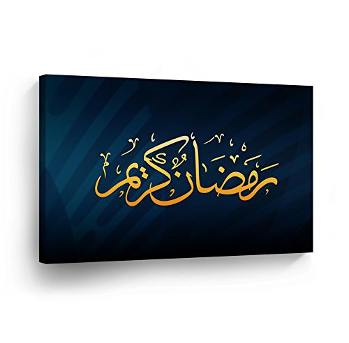 SmileArtDesign Islamic Wall Art Yellow and Dark Blue Modern Arabic Calligraphy Canvas Print Home Decor Decorative Artwork Gallery Stretched and Ready to Hang -%100 Handmade in the USA - 30x40_R by SmileArtDesign