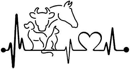 Personalized car stickers 20 X 10.6CM perro gato caballo vaca latido monitor de línea de vida creativo divertido animal etiqueta engomada del coche csfssd (Color : Black)