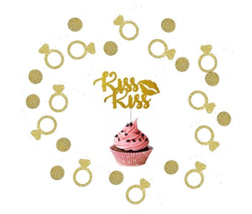 Elecrainbow 200 Pcs Gold Glitter Ring Confetti and KISS Cupcake Topper for Wedding, Proposal Party Decoration
