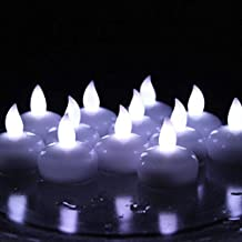 Winterworm Waterproof Cold White Flicker Flameless Floating Led Tealights Candles Wedding Party Xmas- Set of 10