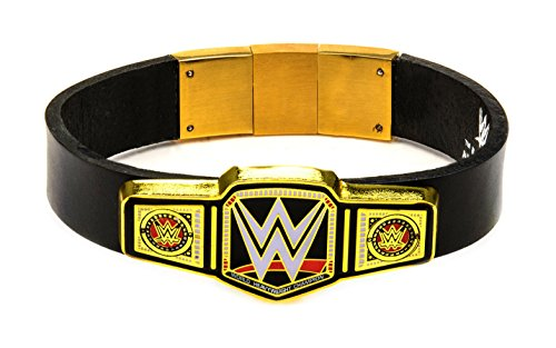 WWE Men's Championship Belt Logo with Black Leather Gold PVD Plated Bracelet Stainless-Steel -