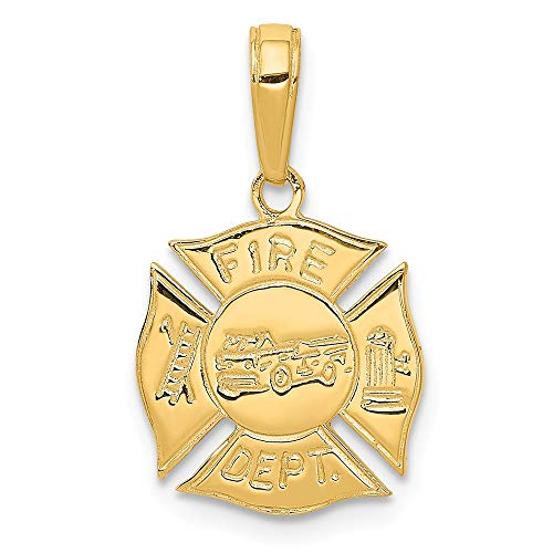 14k Yellow Gold Fire Dept Shield Pendant Charm Necklace Career Professional Firefighter Fine Jewelry Gifts For Women For Her ()