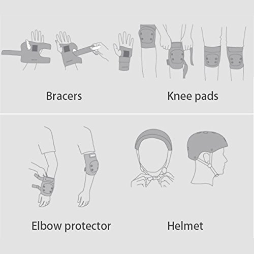 Cikuso 6pcs//set Skating Cycling Roller Protective Gear Set Knee Pads Elbow pads Skateboard Ice Skating Wrist Protector For Kids red