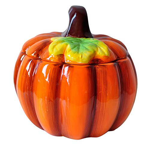 (123Arts Ceramics Pumpkin Hand Painted Dessert Bowl Storage Jar Seasoning Pot Lid )