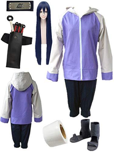 YOUYI Naruto Hyuuga Hinata Cosplay Costume Halloween Full Suit (Child L-3XS) Blue -