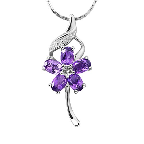 iSTONE Natural Crystal Amethyst 925 Sterling Silver Purple Flower Pendant Necklace Gift