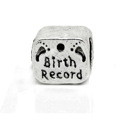 SEXY SPARKLES Newborn Birth Record Certificate Charm Bead for Snake Chain Charm Bracelet (Birth Certificates Records)
