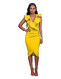 VERTTEE V Neck Ruffle Plain Bodycon Sleeveless Midi Tight Wrap Women Dress