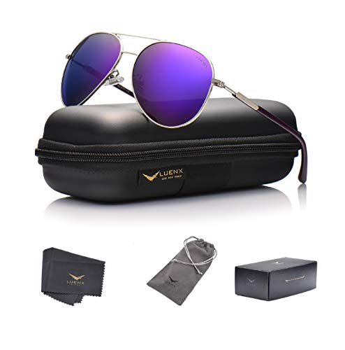 LUENX Aviator Sunglasses Womens Mens Polarized Mirror Purple Lens Silver Metal Frame Large ()