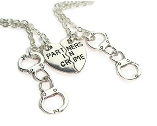 Friendship Necklace For 2, Partner In Crime Necklaces, Best Friends Set, Half Heart Charms, Gift For Sisters, Friend Token, BFF - Tokens Online Gift