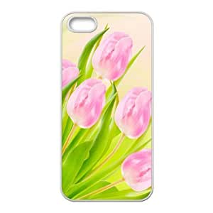 Painted Pink Tulips PC Hard back phone Case cover iphone 5s 5