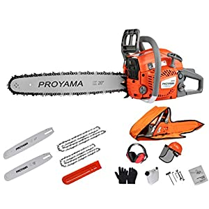 PROYAMA 46CC 16-inch 20-inch 2IN1 Gas Powered Chainsaw with Carrying Case, Orange/Gray