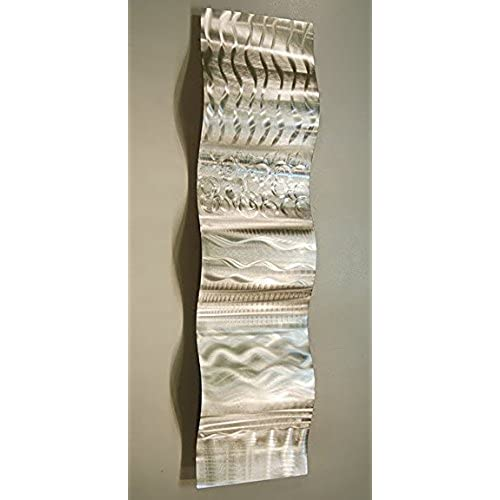 Contemporary Silver Wall Sculpture With Abstract, Modern Etchings   Metal  Wall Art Home Decor Accent Handcrafted Wave For Living Room, Bedroom,  Bathroom, ...