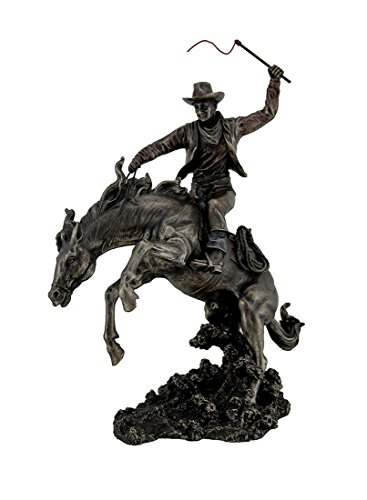 Resin Statues Bronzed Rodeo Cowboy And Bucking Bronco Statue 13 Inches Tall 9 X 15.5 X 5.5 Inches Bronze