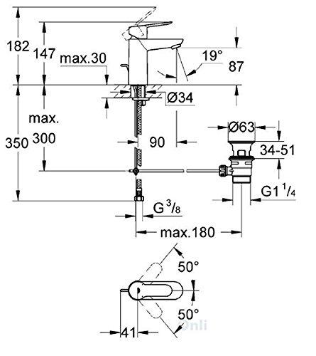 Grohe BauLoop moderno monomando para lavabo de ba/ño grifo mezclador monomando para fregadero de cocina con desag/üe autom/ático 23335000