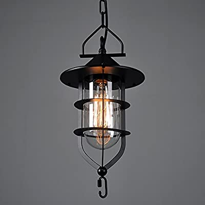 WINSOON 1PC 7X14 Inch Vintage Industrial Metal Ceiling Pendant Light Cage Glass Shade Chandelier Lamp Black