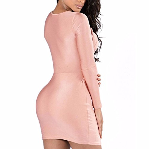 Women Criss Cross Strap V Neck Long Sleeve Midfirr Short Bodycon Midi Dress: Amazon.co.uk: Clothing