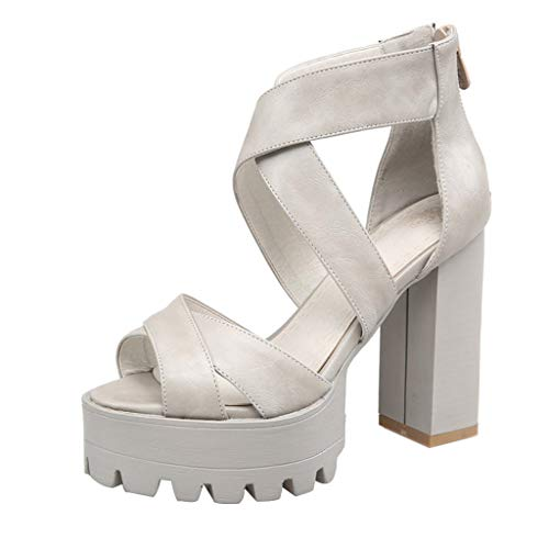 BOLMI Women's Open Toe High Heels Chunky Block Ankle Strap Single Band Pump Heeled Sandal Sexy Outdoor Dress Shoes Gray Burts Bees Pencil Pouch