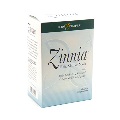 Zinnia Premium Hair, Skin and Nails Vitamins with Biotin and Collagen For Growth and Strength by Form Essentials, 60 Capsules