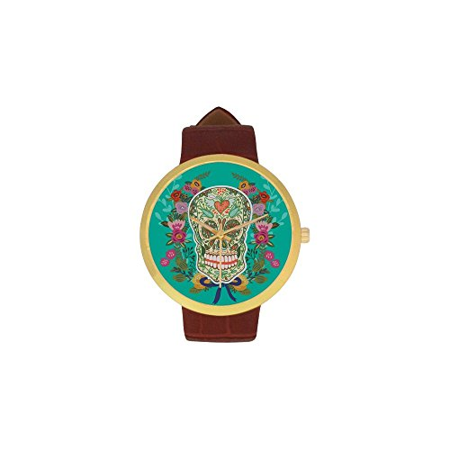 [Women's Sugar Skull Dia De Los Muertos Stainless Steel Leather Strap Waterproof Band Wrist Watch] (Catrina Sugar Skull Costume)